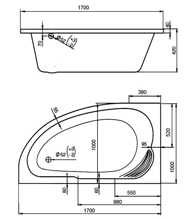 Ванна Roca Merida 170x110 (Левая) схема