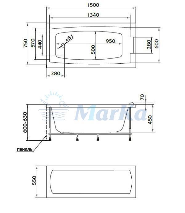 Схема ванна 1MarKa Aelita 150x75