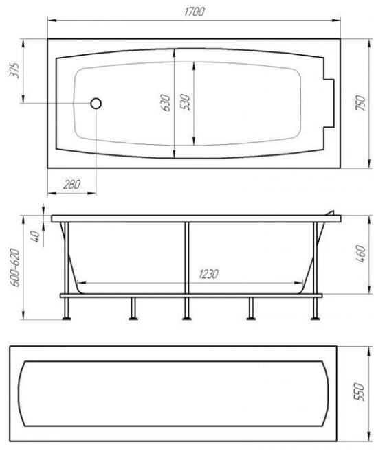 Схема ванна 1MarKa Aelita 170x75