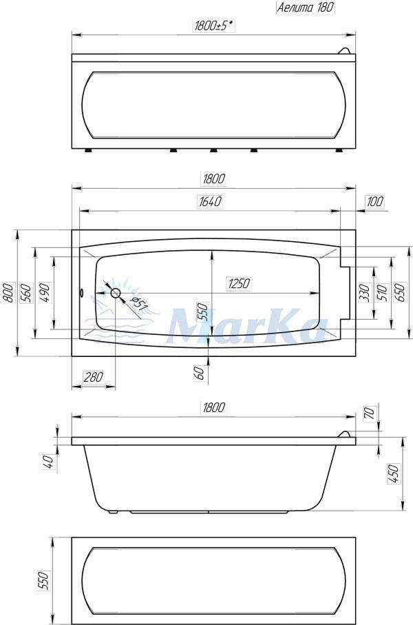 Схема ванна 1MarKa Aelita 180x80