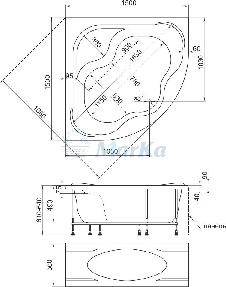 Схема ванна 1MarKa Afrodita 150x150