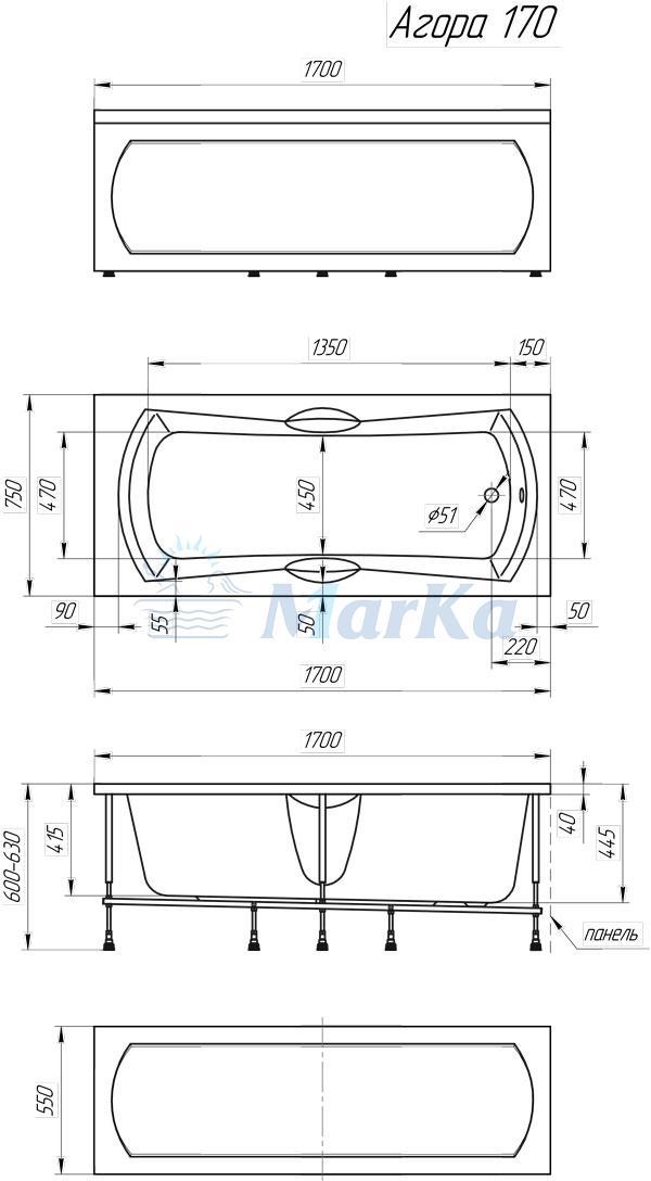 Схема ванна 1MarKa Agora 170x75