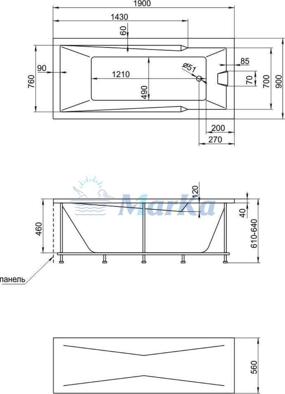 Схема ванны 1 Марка Aragona 190x90