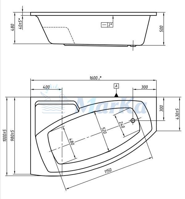 Схема ванна 1MarKa Assol 160x100 (Правая)