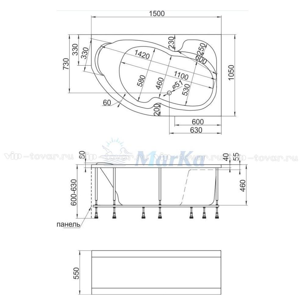 Схема ванна 1MarKa Aura 150x105 (Левая)