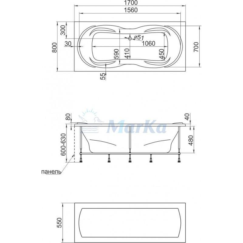 Схема ванна 1 Марка Dinamica 170x80