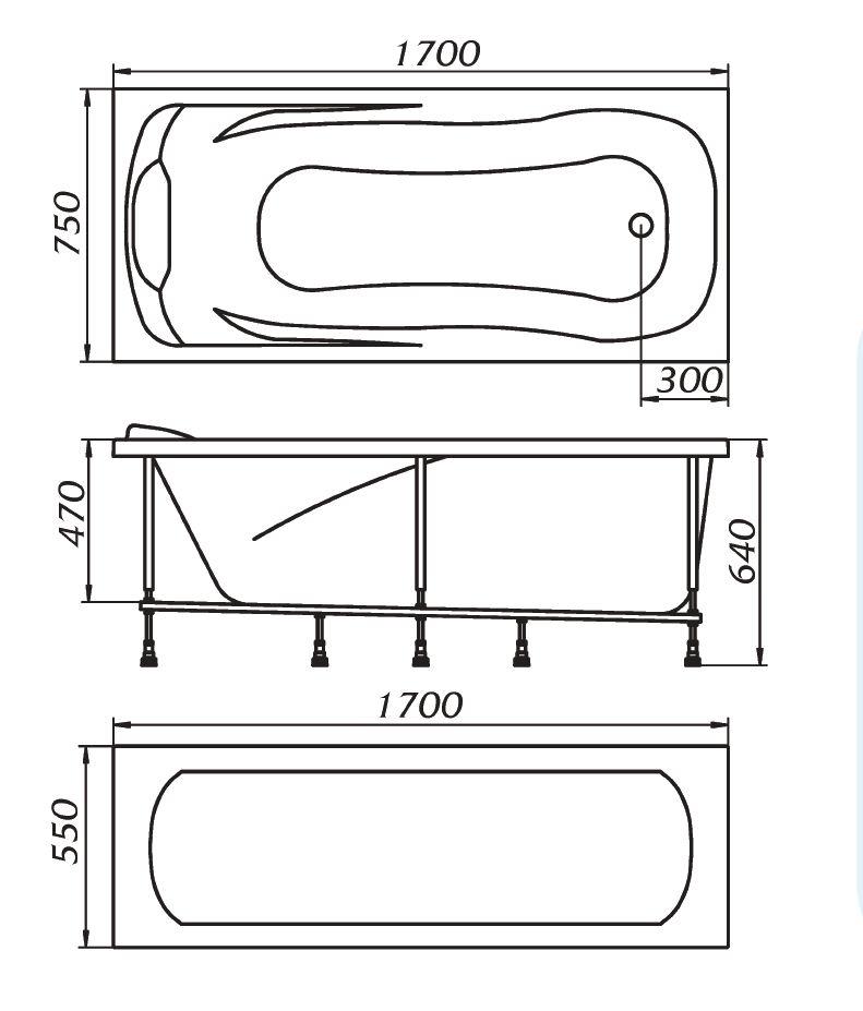 Схема ванна 1 Марка Calypso 170x75