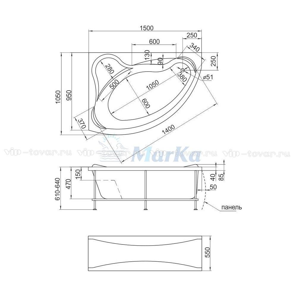 Схема ванна 1MarKa Catania 150x105 (Правая)