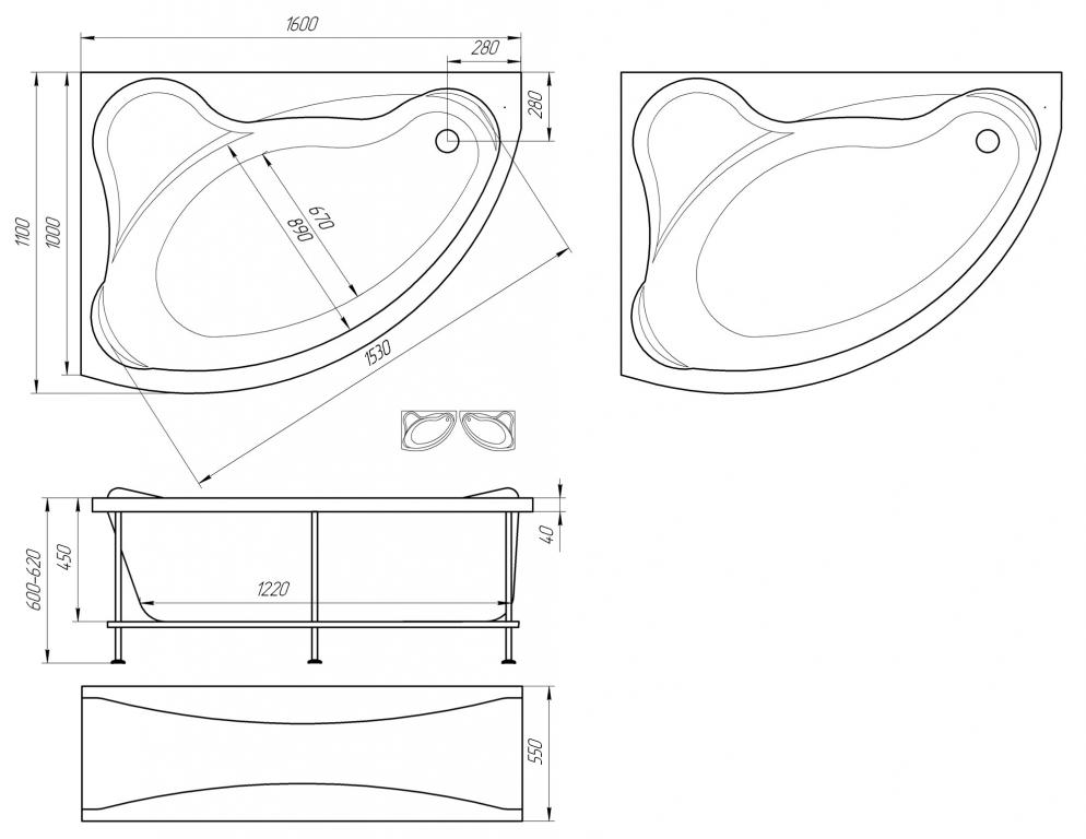 Схема ванна 1MarKa Catania 160x110 (Правая)