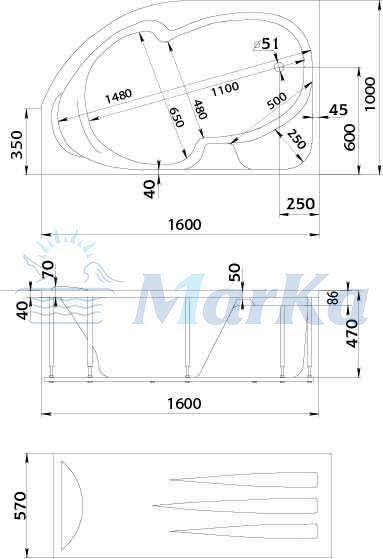 Схема ванна 1MarKa Diana 160x100 (Правая)