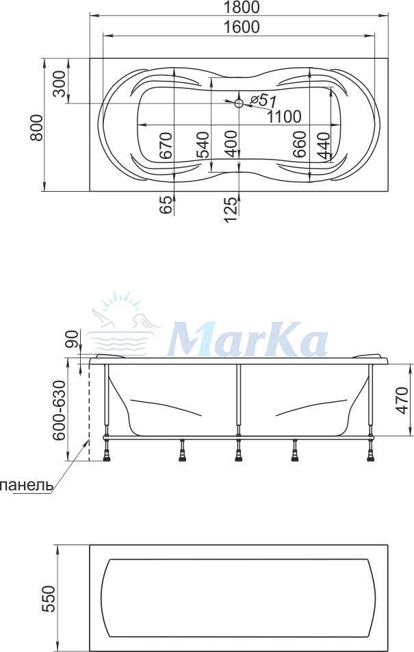 Схема ванна 1 Марка Dinamica 180x80