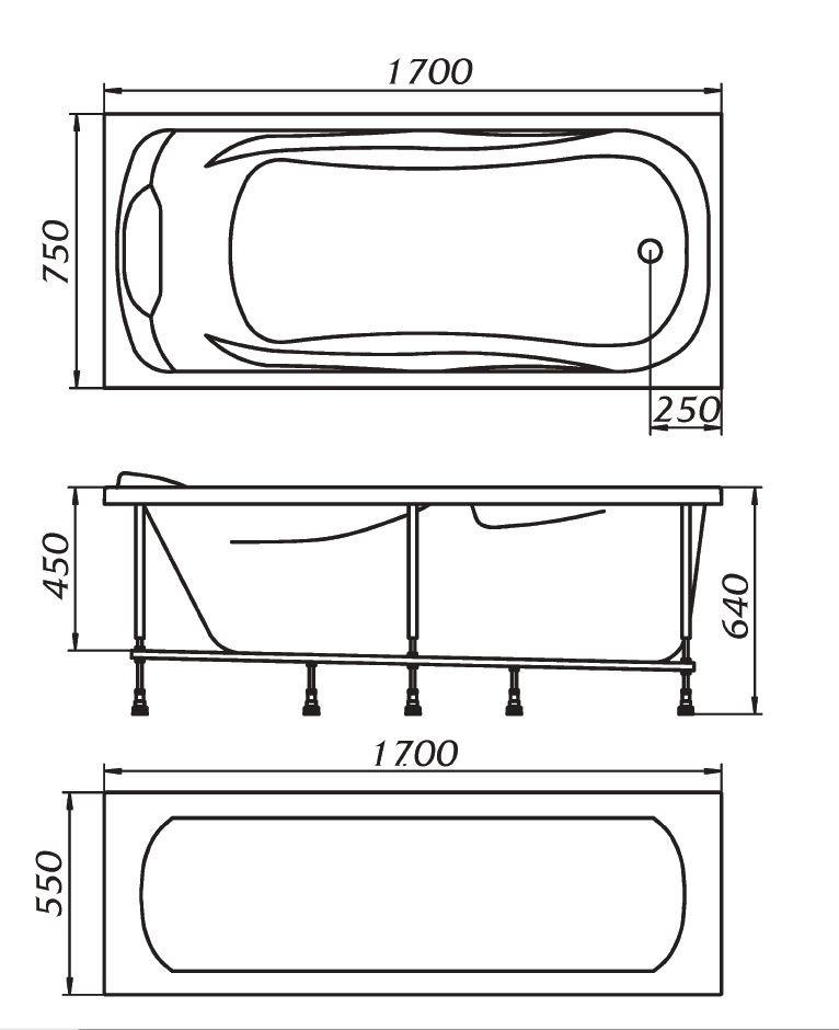Схема ванна 1 Марка Dipsa 170x75