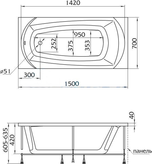 Схема ванна 1MarKa Elegance 150x70