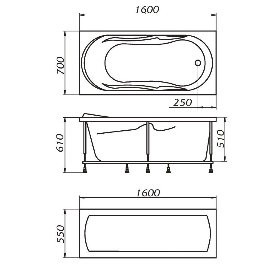 Схема ванна 1MarKa Gloria 160x70