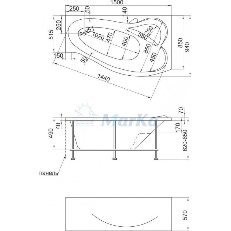 Схема ванна 1MarKa Gracia 150x94 (Правая)