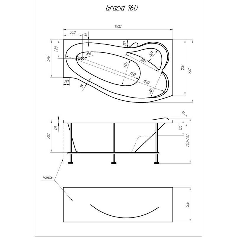 Схема ванна 1MarKa Gracia 160x95 (Правая)