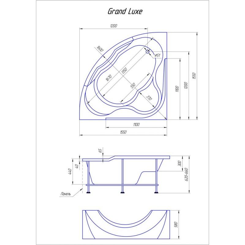 Схема ванна 1MarKa Grand Luxe 155x155