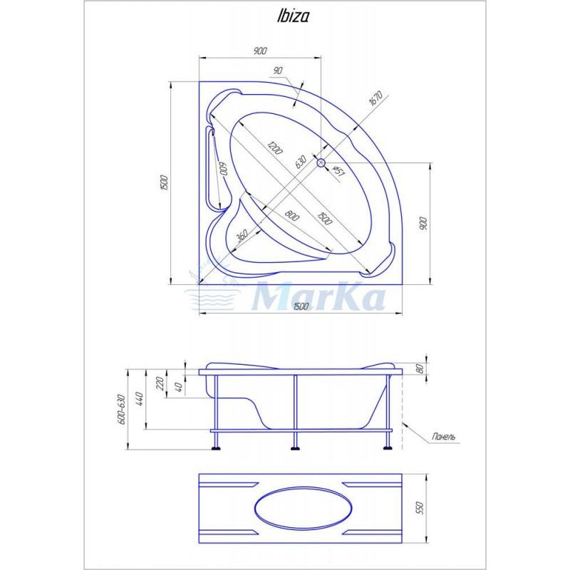 Схема ванна 1MarKa Ibiza 150x150