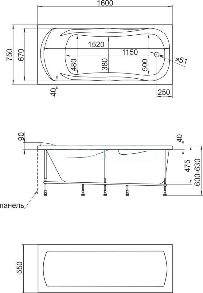 Схема ванна 1MarKa Kleo 160x75