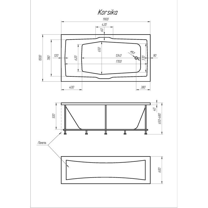 Схема ванны 1 Марка Korsika 190x100