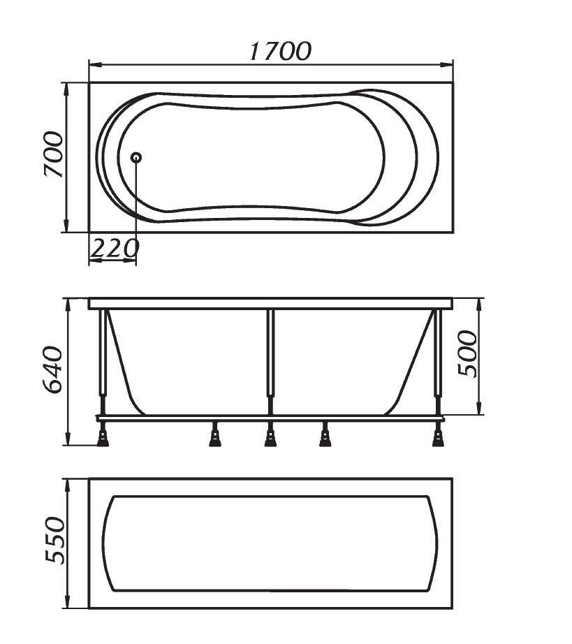 Схема ванна 1MarKa Libra 170x70