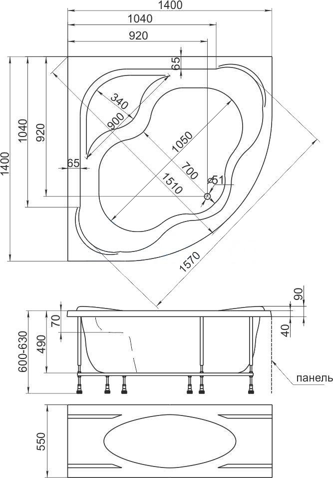 Схема ванна 1MarKa Afrodita 140x140