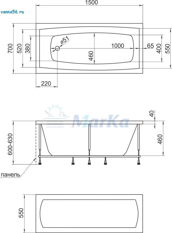 Схема ванна 1MarKa Melora 150x70