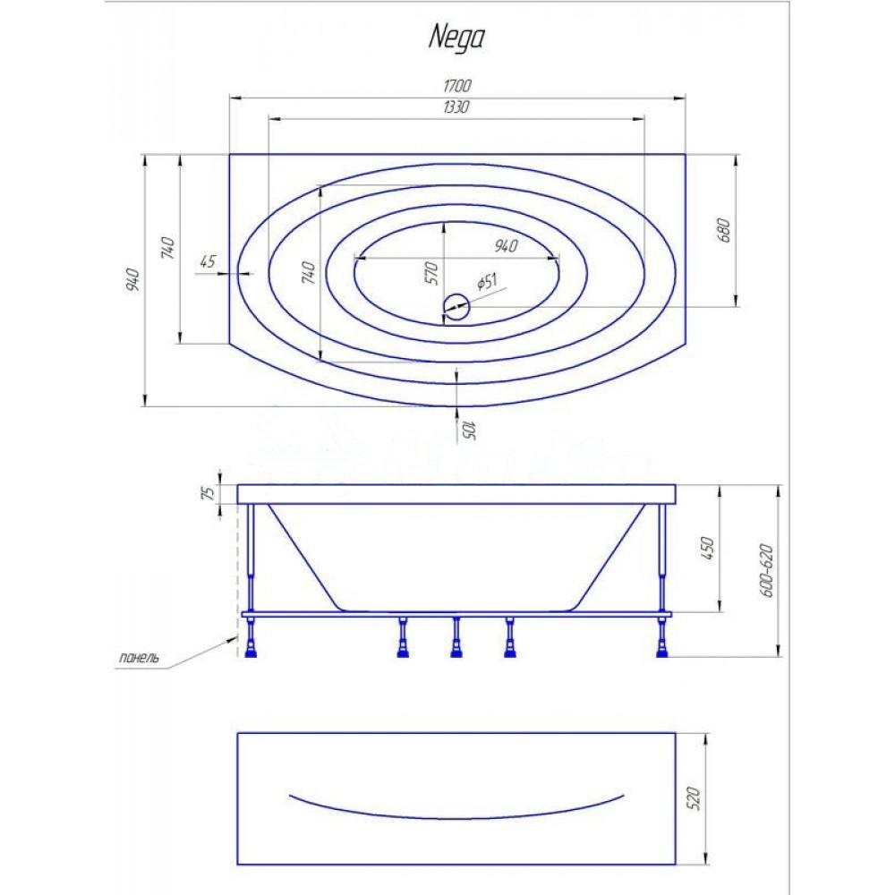 Схема ванна 1MarKa Nega 170x94