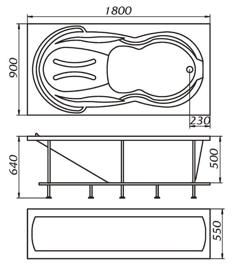 Схема ванны 1 Марка Taormina 180x90
