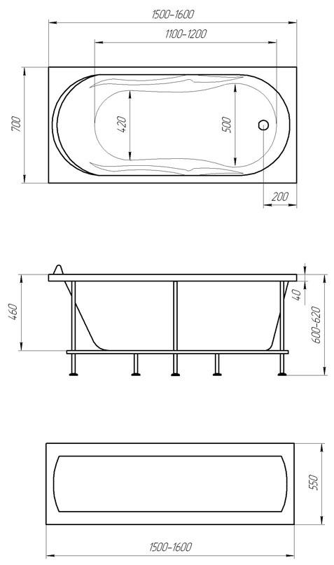 Схема ванна 1MarKa Vita 150x70
