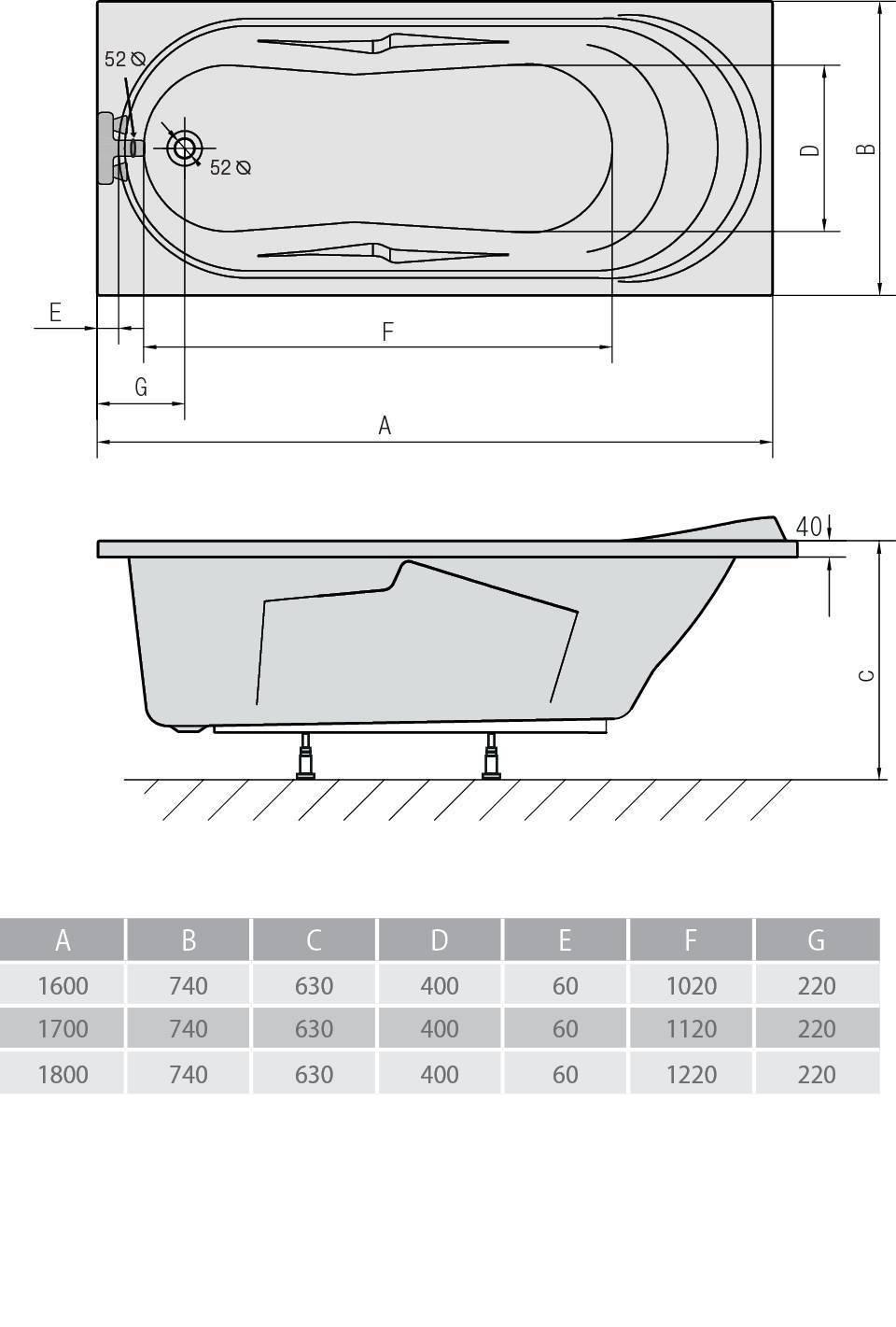 Схема ванна Alpen Adriana 160x74