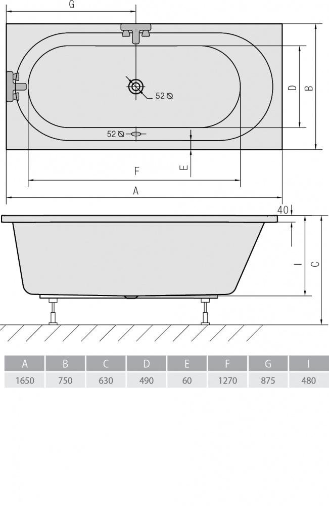 Схема ванна Alpen Astra B 160х75