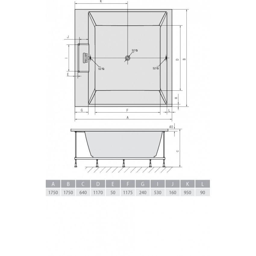 Схема ванна Alpen Came 175х175