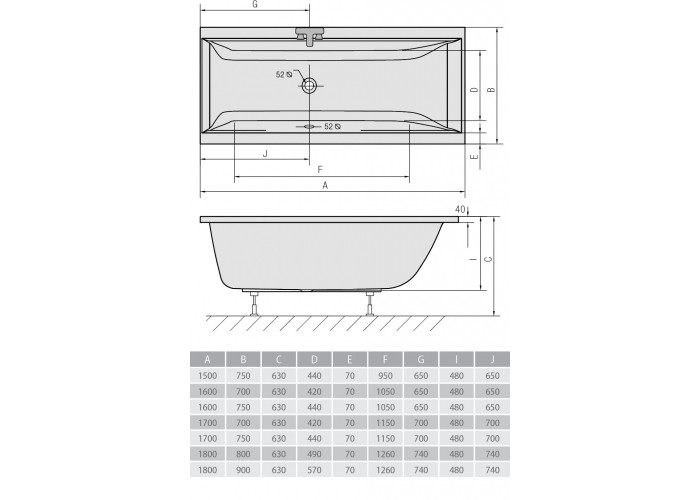 Схема ванна Alpen Cleo 170х70