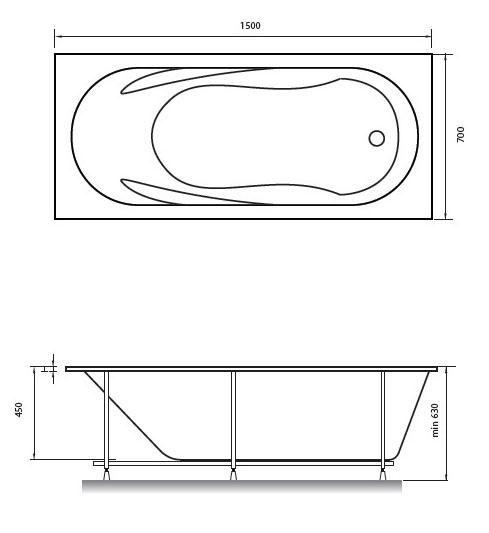 Схема ванна Relisan Daria 150x70