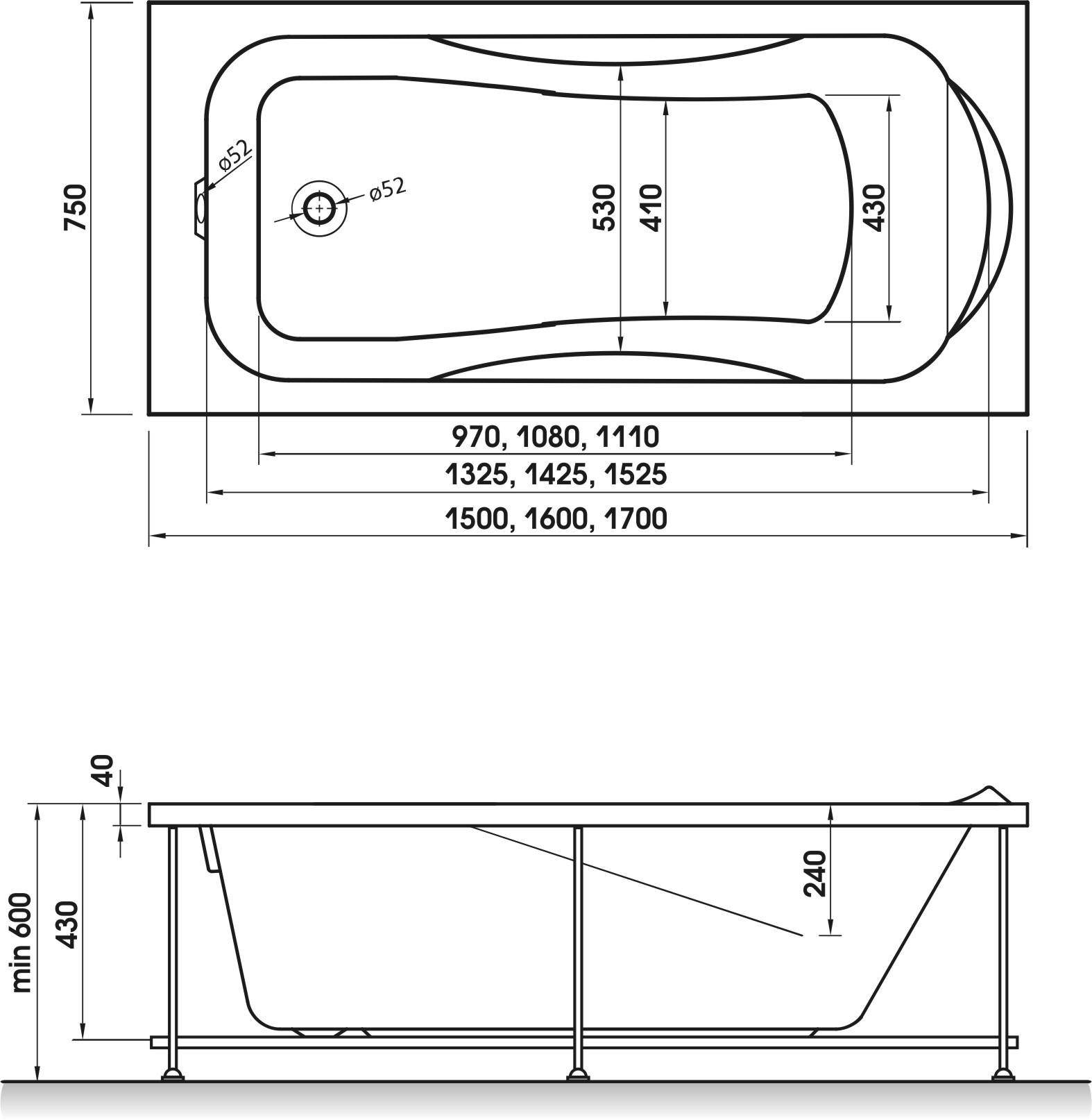 Схема ванна Relisan  Elvira 150x75