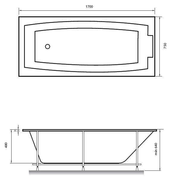 Схема ванна Kristina Elvira 170x75