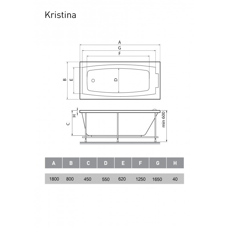 Схема ванна Kristina Elvira 180x80