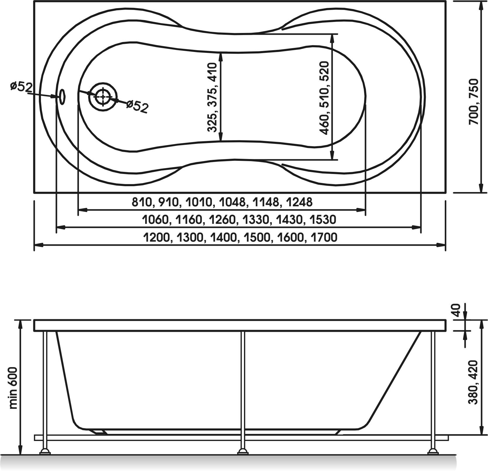 Схема ванна Relisan Lada 160x70