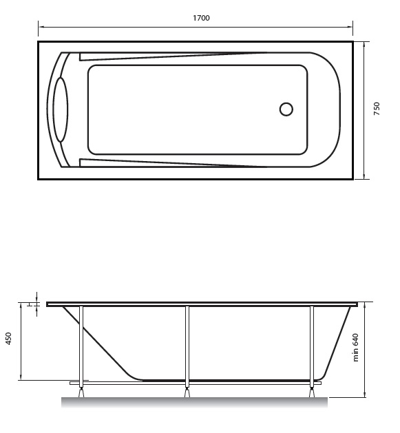 Схема ванна Relisan Marina 170x75