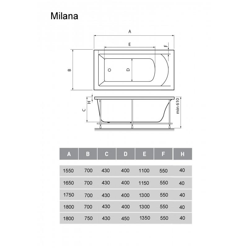 Схема ванна Kristina Milana 175x70