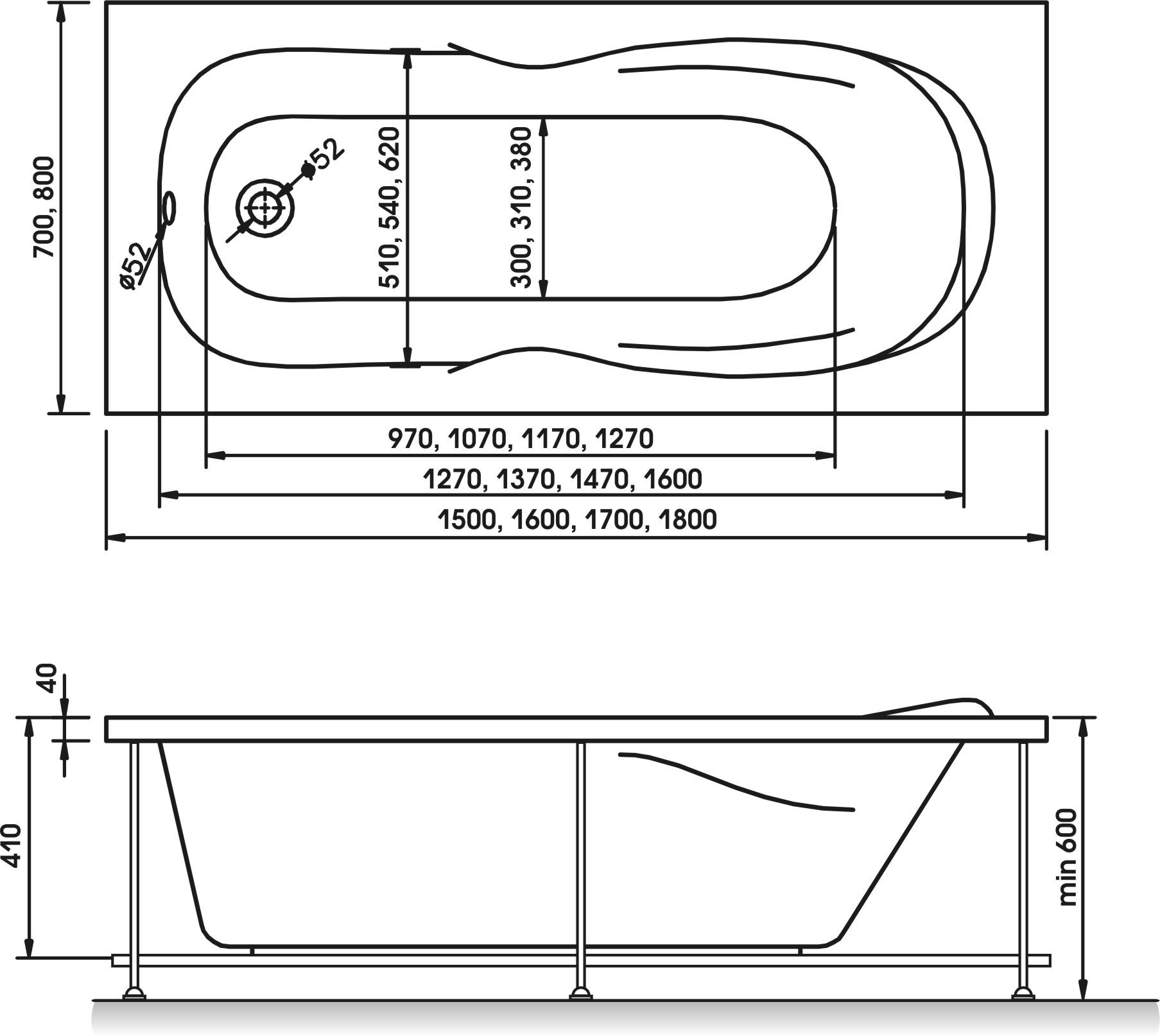 Схема ванна Relisan Neonika 170x70