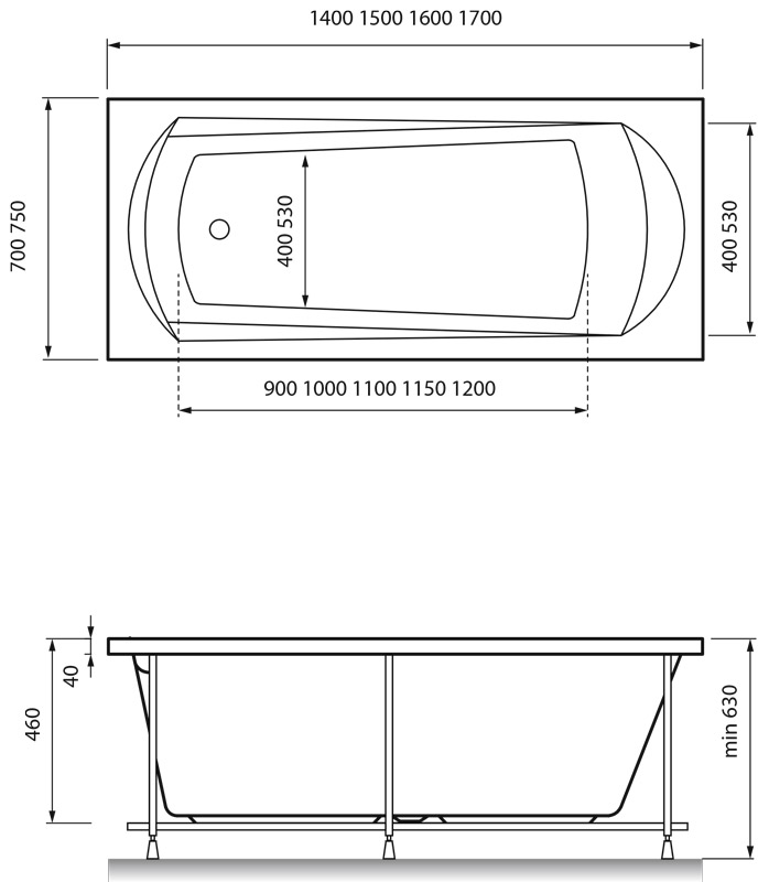 Схема ванна Relisan Tamiza 170x75