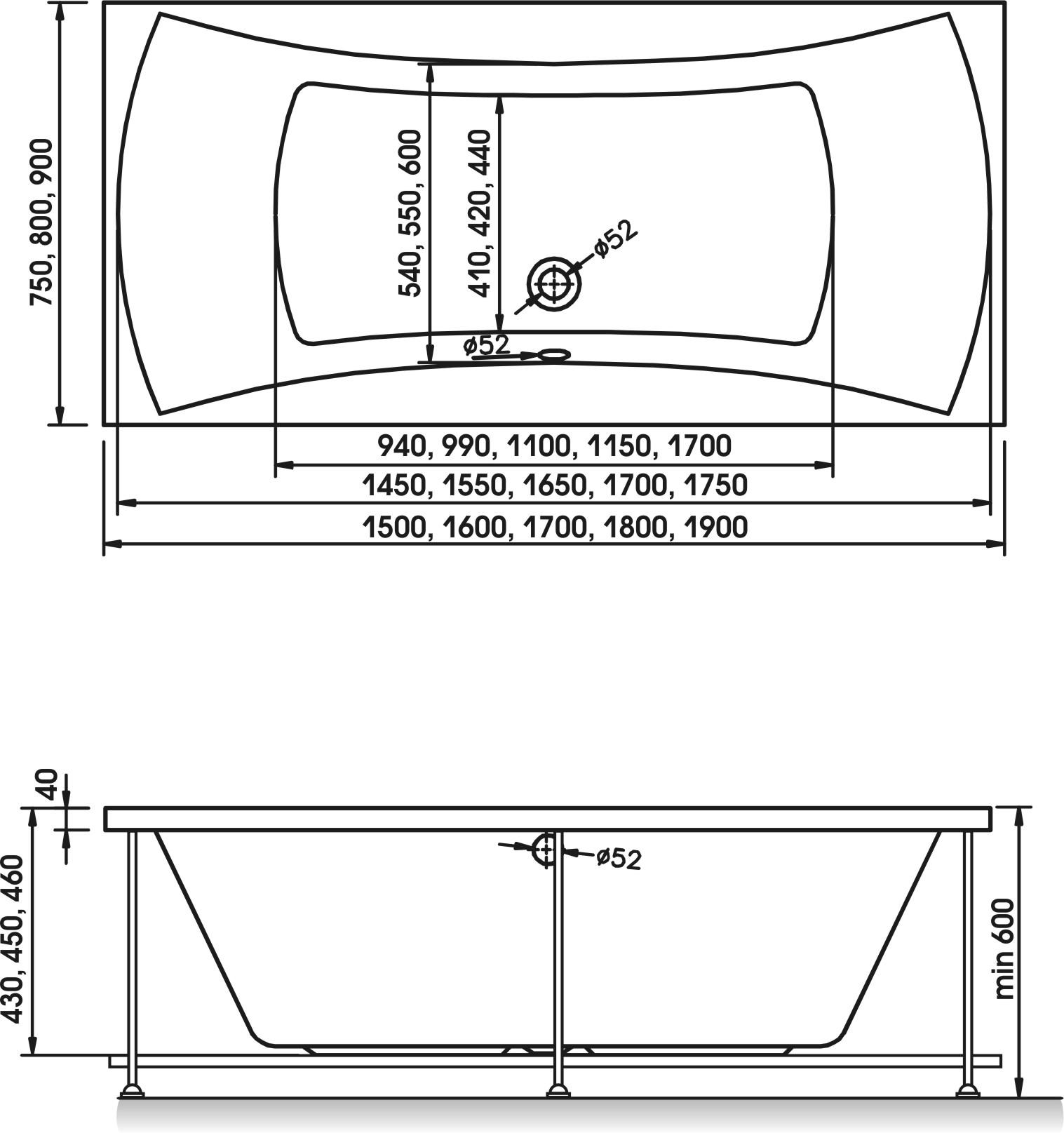 Схема ванна Relisan Xenia 190x90