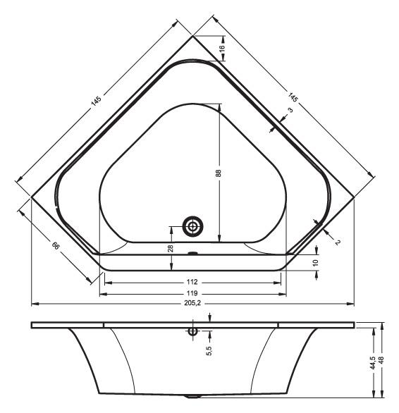 Схема ванны Riho Austin 145x145