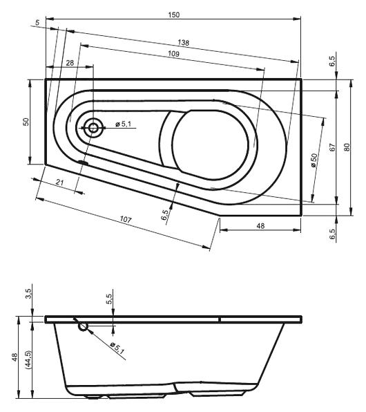 Схема ванны Riho Delta 150x80 (Правая)