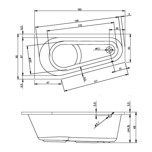 Схема ванны Riho Delta 160x80 (Левая)