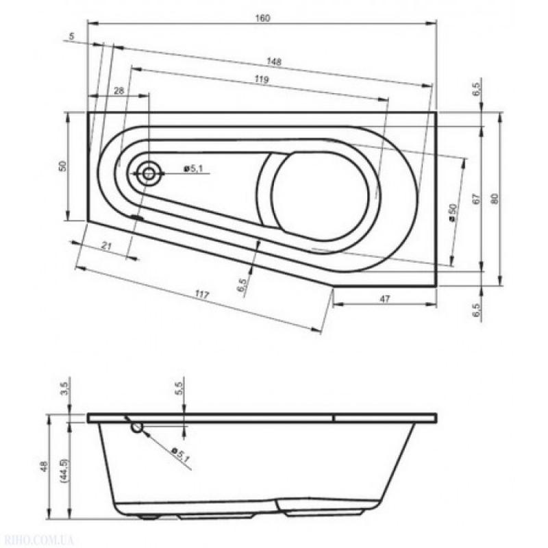 Схема ванны Riho Delta 160x80 (Правая)