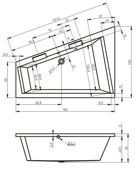 Схема ванны Riho Doppio 180х130 с гидромассажем (Левая, встраиваемая)