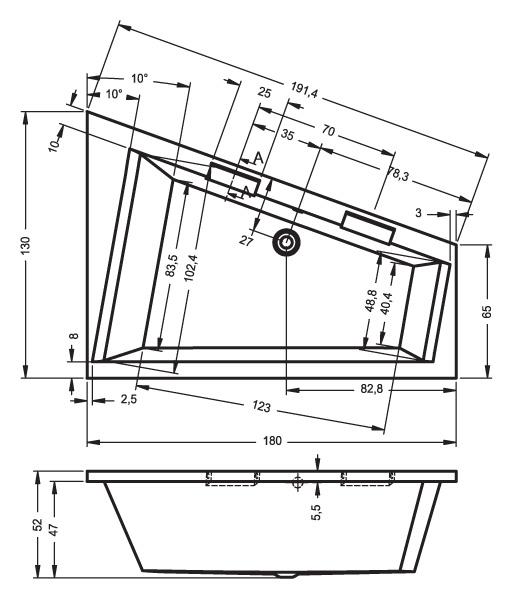 Схема ванны Riho Doppio 180х130 с гидромассажем (Правая, встраиваемая)